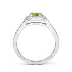 Toggle Classic Oval Peridot Halo Ring with Diamond Accents