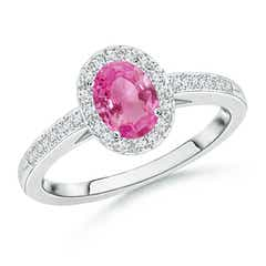 Classic Oval Pink Sapphire Halo Ring with Diamond Accents