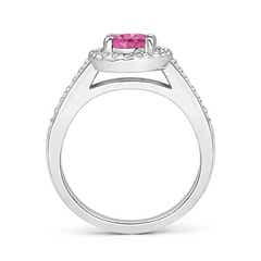 Toggle Classic Oval Pink Sapphire Halo Ring with Diamond Accents