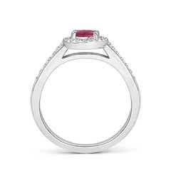 Toggle Classic Oval Pink Tourmaline Halo Ring with Diamond Accents