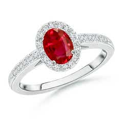 Classic Oval Ruby Halo Ring with Diamond Accents