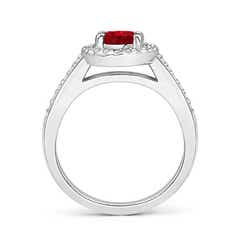 Toggle Classic Oval Ruby Halo Ring with Diamond Accents