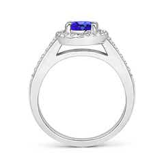 Toggle Classic Oval Tanzanite Halo Ring with Diamond Accents