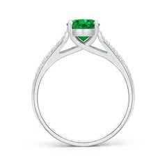 Toggle Solitaire Oval Emerald Ring with Pave Diamond Accents