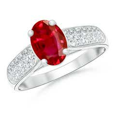 Solitaire Oval Ruby Ring with Pave Diamond Accents
