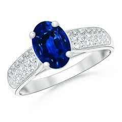 Angara Prong Set Oval Blue Sapphire Cathedral Solitaire Ring in 14k Rose Gold cnrSE