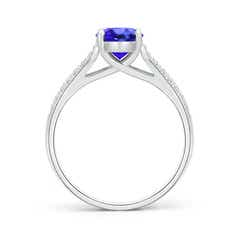 Toggle Solitaire Oval Tanzanite Ring with Pave Diamond Accents
