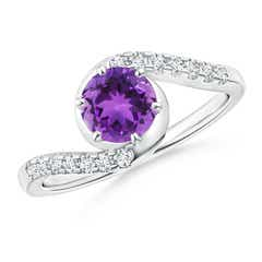 Prong-Set Amethyst Bypass Ring with Diamond Accents