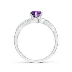Toggle Prong-Set Amethyst Bypass Ring with Diamond Accents