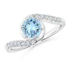 Prong-Set Aquamarine Bypass Ring with Diamond Accents