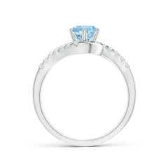 Toggle Prong-Set Aquamarine Bypass Ring with Diamond Accents