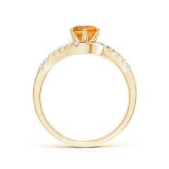 Toggle Prong-Set Citrine Bypass Ring with Diamond Accents