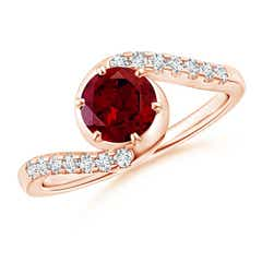 Angara Bar-Set Solitaire Round Garnet Bypass Ring