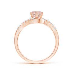 Toggle Prong-Set Morganite Bypass Ring with Diamond Accents