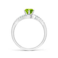 Toggle Prong-Set Peridot Bypass Ring with Diamond Accents