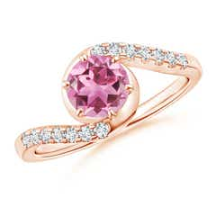 Prong-Set Pink Tourmaline Bypass Ring with Diamond Accents