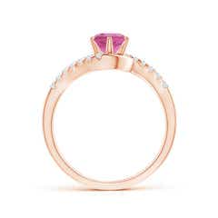 Toggle Prong-Set Pink Tourmaline Bypass Ring with Diamond Accents