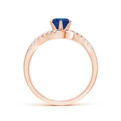 Toggle Prong-Set Sapphire Bypass Ring with Diamond Accents