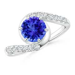 Prong-Set Tanzanite Bypass Ring with Diamond Accents