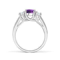 Toggle Classic Round Amethyst and Diamond Three Stone Ring