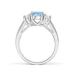 Toggle Classic Round Aquamarine and Diamond Three Stone Ring