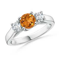 Classic Cathedral Citrine and Diamond Three Stone Ring