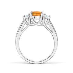 Toggle Classic Round Citrine and Diamond Three Stone Ring