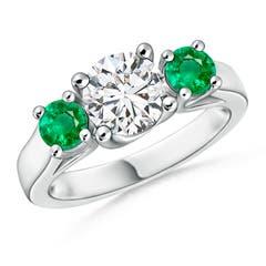 Classic Prong Set Diamond and Emerald Three Stone Ring