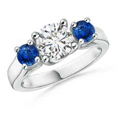 Classic Prong Set Diamond and Sapphire Three Stone Ring