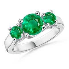 Classic Prong Set Emerald Three Stone Ring
