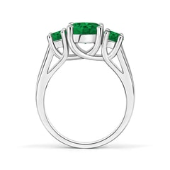 Toggle Classic Round Emerald Three Stone Ring