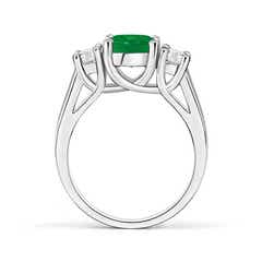 Prong-Set Emerald and Diamond Cathedral Three Stone Ring