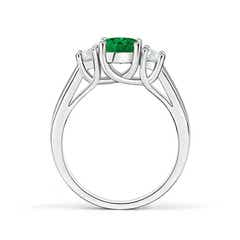 Toggle Classic Round Emerald and Diamond Three Stone Ring