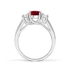 Toggle Classic Round Garnet and Diamond Three Stone Ring