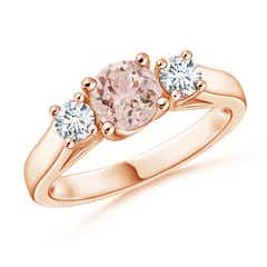 Classic Round Morganite Three Stone Ring