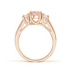 Toggle Classic Round Morganite Three Stone Ring