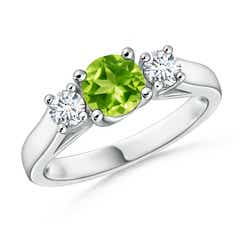 Classic Cathedral Peridot and Diamond Three Stone Ring