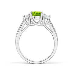 Toggle Classic Round Peridot and Diamond Three Stone Ring