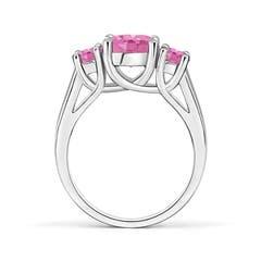 Toggle Classic Round Pink Sapphire Three Stone Ring