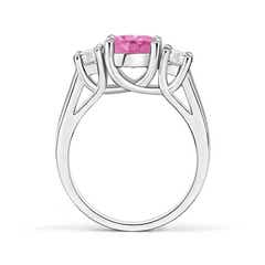 Toggle Classic Round Pink Sapphire and Diamond Three Stone Ring