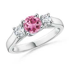 Classic Cathedral Pink Tourmaline and Diamond Three Stone Ring