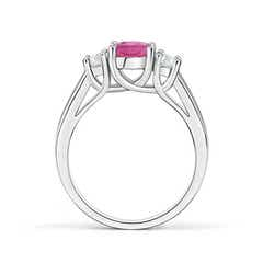Toggle Classic Round Pink Tourmaline and Diamond Three Stone Ring
