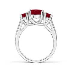 Classic Prong Set Ruby Three Stone Ring