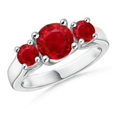 Classic Round Ruby Three Stone Ring