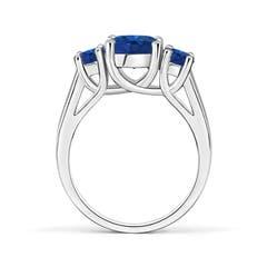 Toggle Classic Round Sapphire Three Stone Ring