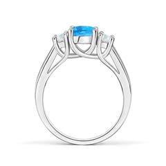 Toggle Classic Round Swiss Blue Topaz and Diamond Three Stone Ring