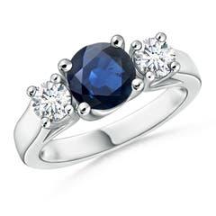 Classic Prong Set Sapphire and Diamond Three Stone Ring