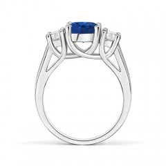 Toggle Classic Round Sapphire and Diamond Three Stone Ring