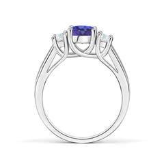 Toggle Classic Round Tanzanite and Diamond Three Stone Ring