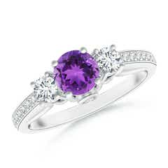 Classic Prong Set Round Amethyst and Diamond Three Stone Ring